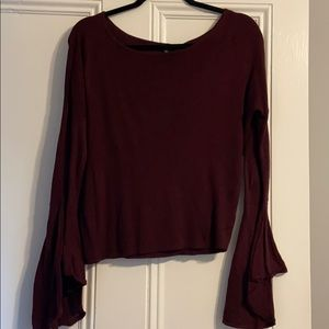 Express Maroon Scoop Neck Sweater w/ Bell Sleeves